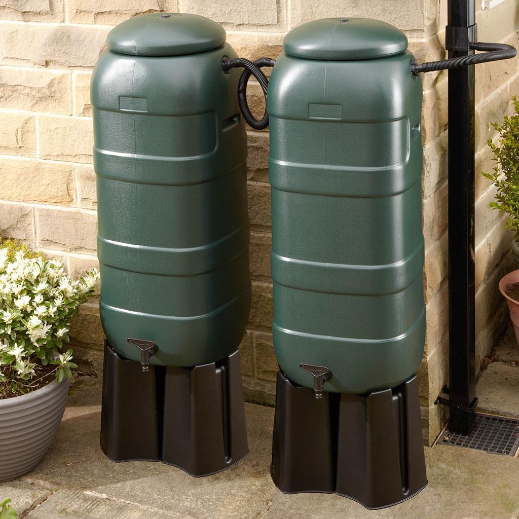 100 Litre Slimline Water Butt Set Inc 4 Part Stand -5848